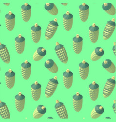 isometric lowpoly fir cone pattern vector image