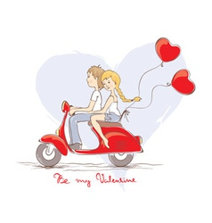 Love on a scooter vector image vector image