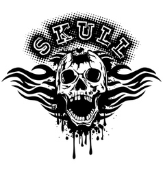 pierced skull on grunge splash with tribal vector image vector image