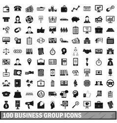100 business group icons set simple style vector image