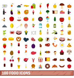 100 food icons set flat style vector image