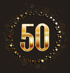 50 years anniversary gold banner vector