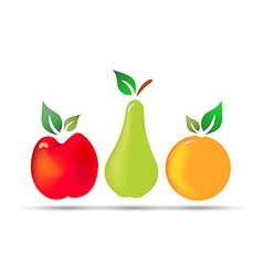 apple pear orange fresh fruit with drops dew vector image