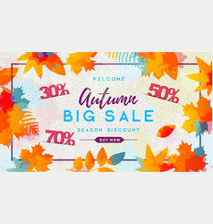 autumn big sale watercolor poster with vector image