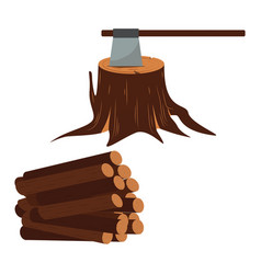 ax with timber icon wood set vector image