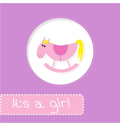 Baby girl shower card with cute horse vector
