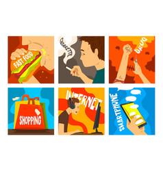 bad habits and addictions modern society set vector image