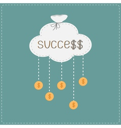 Bag cloud and hanging coins with dollar sign vector