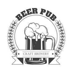 Beer pub isolated icon craft beer in mug with vector