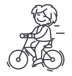 bicycle riding boy line icon sign vector image