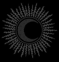 black hole sun and celtic crescent moon design vector image