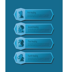 Blue number headings banners icons set vector