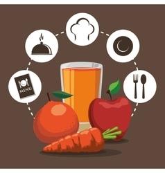 Breakfast nutrition fruit vegetable juice cycle vector