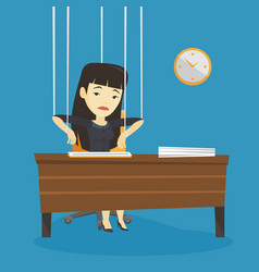 business woman marionette on ropes working vector image