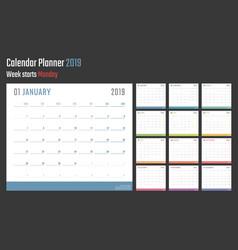 Calendar for 2019 starts monday calendar vector