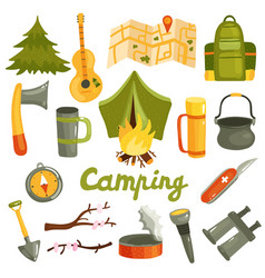 Camping tourism equipment set vector