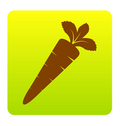 carrot sign brown icon at vector image