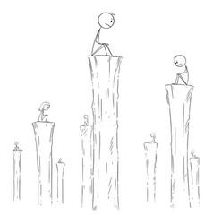 Cartoon people sitting alone on high columns vector