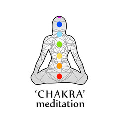 Chakra meditation with respective colors vector