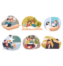 children and teenagers study in school and uni vector image