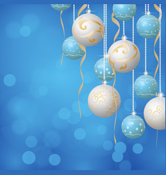 christmas balls background blue and white colors vector image