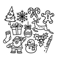 christmas icon set doodle christmas holiday image vector image