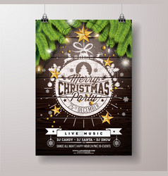christmas party flyer with gold star vector image