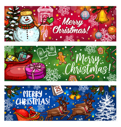 christmas sketch banner for winter holiday design vector image