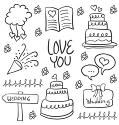 collection of wedding element style doodles vector image