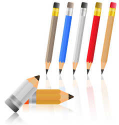 colored pencils stationery set on a white vector image