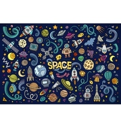 colorful hand drawn doodles cartoon set vector image
