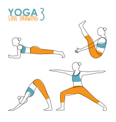 continuous line drawing woman yoga pose vector image