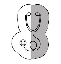 Contour sticker professional stethoscope icon vector