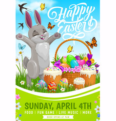 Easter egg hunt party flyer with bunny and basket vector