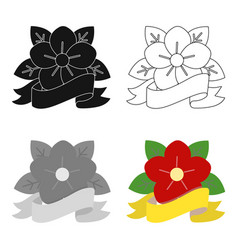 flower tattoo emblem icon cartoon single tattoo vector image