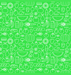 food seamless pattern concept outline icons vector image