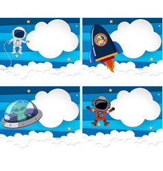 Four border templates with astronauts and alien vector