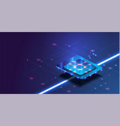 Futuristic microchip processor with lights vector