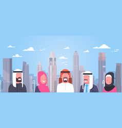 Group of arabic people over modern city background vector