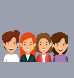 Group of women friends characters vector