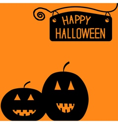 Happy Halloween pumpkin card vector image