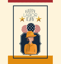 Happy labor day card with firefighter and usa flag vector