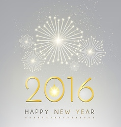 Happy new year and fire work silver background vector