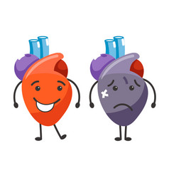 Healthy vs sick heart human organs condition vector
