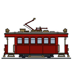 Historical dark red tramway vector