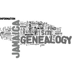 jamaica genealogy text background word cloud vector image
