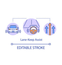 Lane-keep assist concept icon remaining vehicle vector