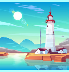 Lighthouse standing on rocky seashore at sunny day vector