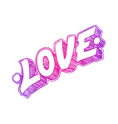 Love word drawn by hand vector