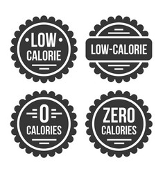 low or zero calorie product label set on white vector image